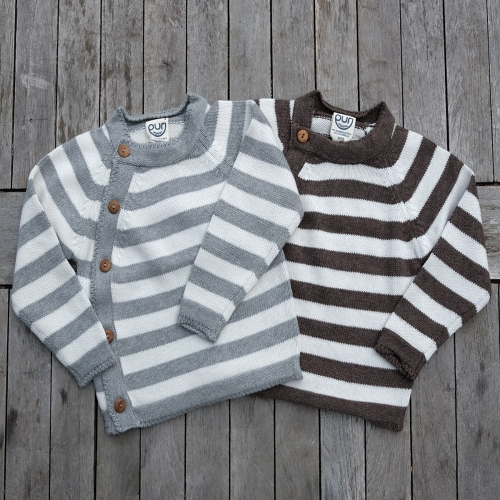 Stripy Baby Jumper In Organic Cotton & Wool Blend