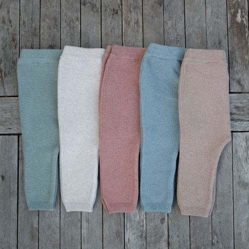 Knitted Baby Leggings in Organic Cotton and Silk