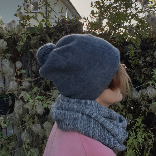Merino Wool Fleece Bobble Hat