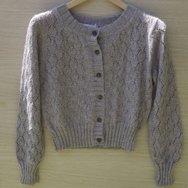 Women's Dusky Rose Leaf Cardigan in Supersoft Baby Alpaca