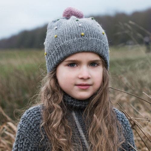 Alpaca Dot Bobble Hat For Children