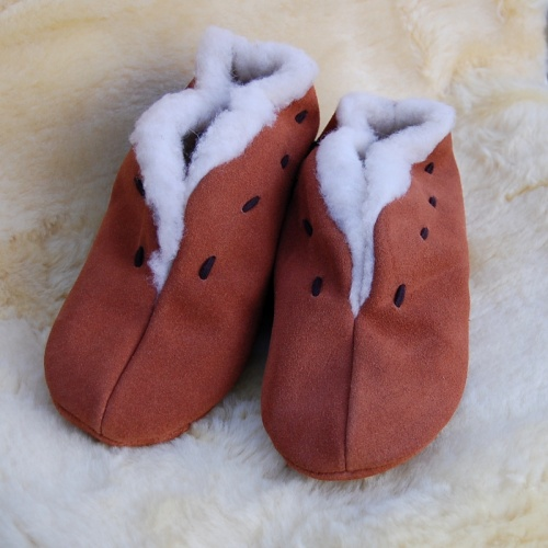 Fluffed Wool and Suede Slippers