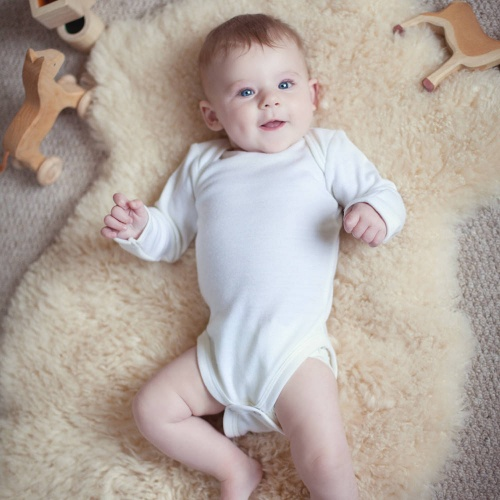 Long-Sleeved Baby Body-Suit in Pure Superfine Merino Wool