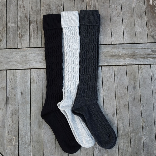 Thick cable knit, knee high socks in wool and cotton