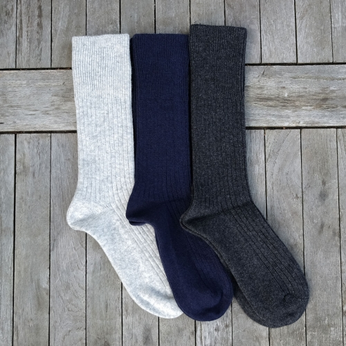 Women's Ribbed socks in Wool and Cotton