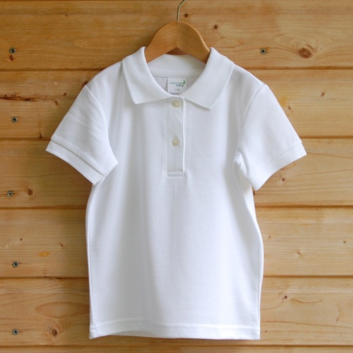 b3074fd8a White Organic Cotton Polo Shirt - Children's School Polo Cotton T-Shirt