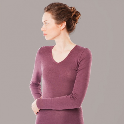 Extra-Soft Women's Long-Sleeved V-Neck Vest Top in Wool and Silk