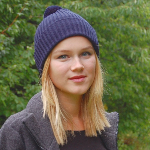 Ribbed Merino Wool Bobble Hat