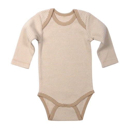 Stripy Long Sleeved Baby Body in Undyed Organic Cotton