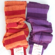 Adult Stripy Legwarmers in Pure Organic Wool