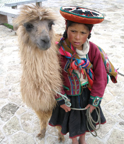 A_Quechua_girl_and_her_Llama-Thomas-Quine