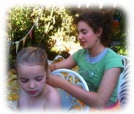 Midsummer celebrations - hair braiding with flowers