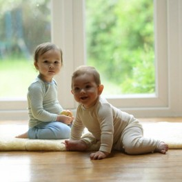 Most comfy baby pyjamas in organic Merino wool and silk blend