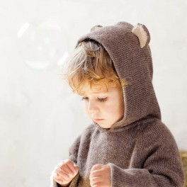Wolf and Bear hooded jumper in baby alpaca by Waddler