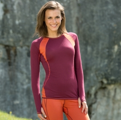 Women's Long-Sleeve Sports Top in Wool and Silk by Engel